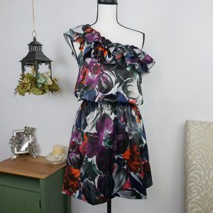 LC One Shoulder Ruffled Blouson Lined Dress Sz 4